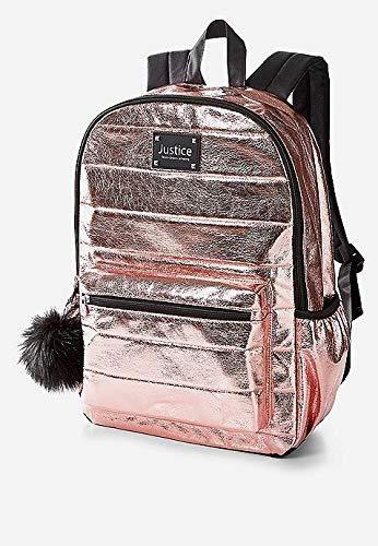 Justice Rose Gold Quilted Backpack Quilted Backpack Gold Backpacks Girls Backpack Kids