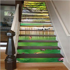 White Cranes Playing In The Stream Scenery Print Waterproof 3d Stair Step Stickers Stairs Stair Steps Mural