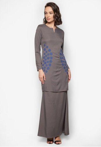 Baju Kurung Modern from Gene Martino in Grey - BAJU KURUNG MODEN