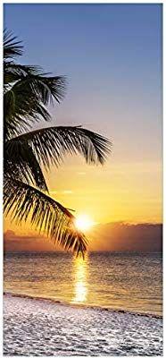 Wallario Selbstklebende Premium Türtapete Palme am Strand Sonnenuntergang Meer