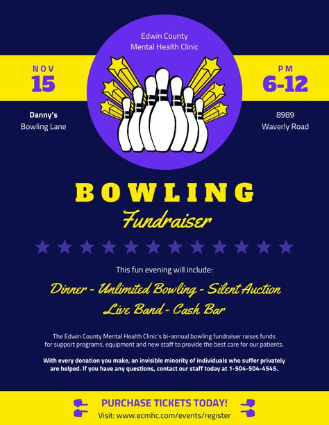 Indigo Bowling Fundraising Poster Template