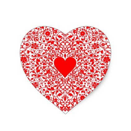 Fancy Red Heart Heart Sticker - valentines day gifts love couple ...
