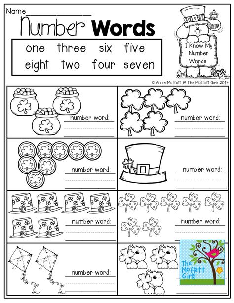 NUMBER WORD practice! Count the items and write the number words!
