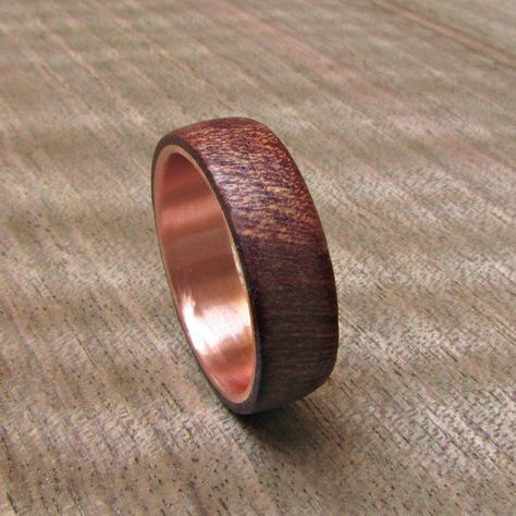 Burgundy Wood And Copper Wedding Band Dark Red Men S Ring 5 Year
