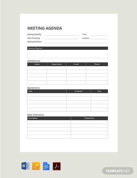 Free Sample Meeting Agenda Template Pdf Word Apple Pages Google Docs Template Net Meeting Agenda Template Meeting Agenda Agenda Template