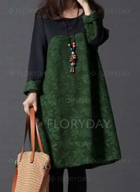 Dress - $40.99 - Color Block Long Sleeve Midi Shift Dress (1955346629)