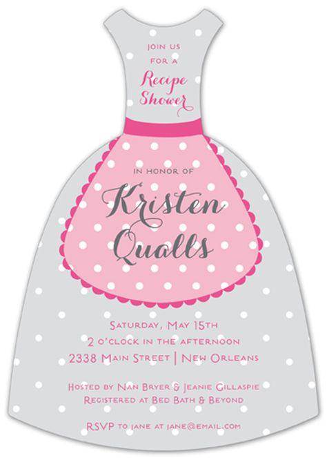 Polka Dot Apron Bridal Shower Invitation.