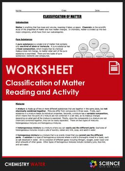 Worksheet - Classification of Matter Reading and Station Lab