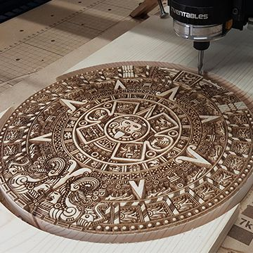 Aztec Calendar Made On Cnc Free Project From Vectric Vectric Cnc Cncwoodprojects Cnc Wood Cnc Router Projects Cnc Woodworking