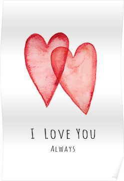 I love you always red watercolor hearts by MheaDesign
