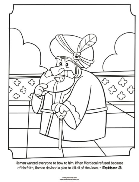 kids coloring page from whats in the bible featuring haman from esther 3 volume 7 exile and return bible coloring pages pinterest escuela