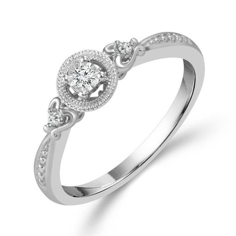 Sterling Silver .06cttw Round Diamond Halo Promise Ring