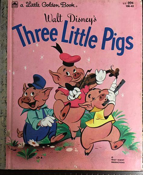"""Free: Vintage """"Golden Book"""" Walt Disney's """"The Three Little Pigs"""" - Children's Books Old Children's Books, Vintage Children's Books, My Books, Three Little Pigs, This Little Piggy, My Childhood Memories, Childhood Toys, Walt Disney, Bd Comics"""