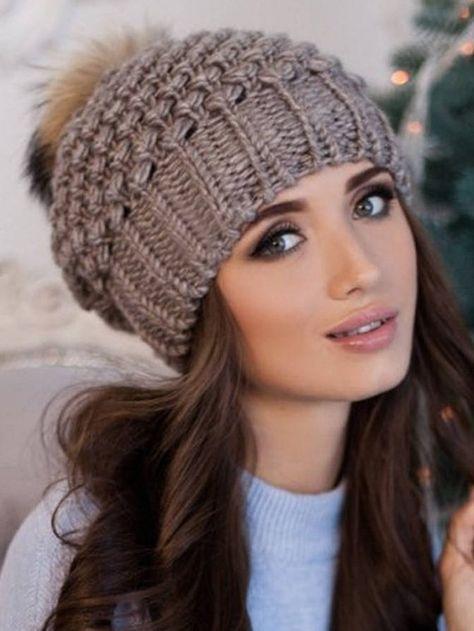 Cappello di pom pom, donne berretto, cappello di pelliccia ...