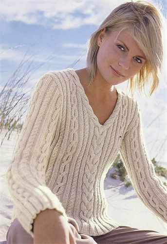 Bergere de France V Neck Cable Sweater Knitting Pattern