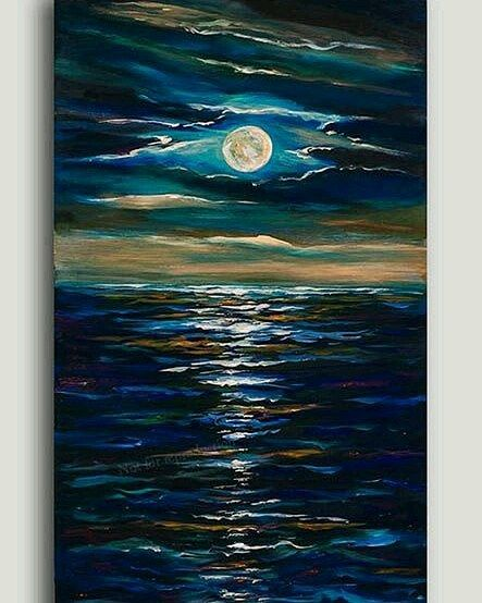 Deniz Ay Gece Ve Tonlari Art Deniz Tablo Yagliboya Gece Sanat Tonlar Mavi Turkuaz Eflatun Renkler Yesil Ay Tablolar Painting Resim Sanati