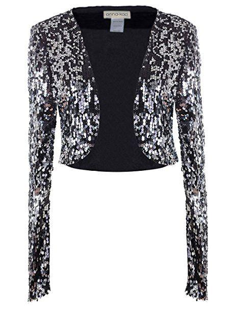 Womens New Glitzy Blue Sequin Lace Bolero Shrug Top Crop Cardi Shoulder Cover