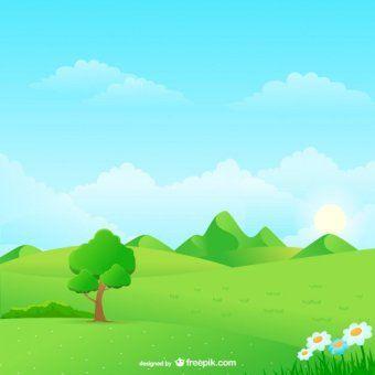 Sunny Meadow Landscape Vector Illustration Pemandangan Latar Belakang Gambar