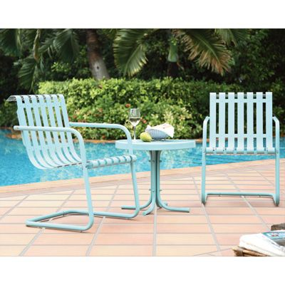 Crosley Gracie 3 Pc Outdoor Furniture Set 2 Chairs And Side Table Blue Green Outdoor Furniture Outdoor Seating Set Outdoor Furniture Sets