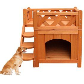 Gymax Weatherproof Wooden Cat House Furniture Shelter Condo With