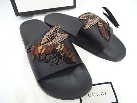 a7a2799577b eBay  Sponsored NEW GUCCI Flip Flop Slipper Sandals Black 5 Bee Embroidery  Black 16141768300 BG