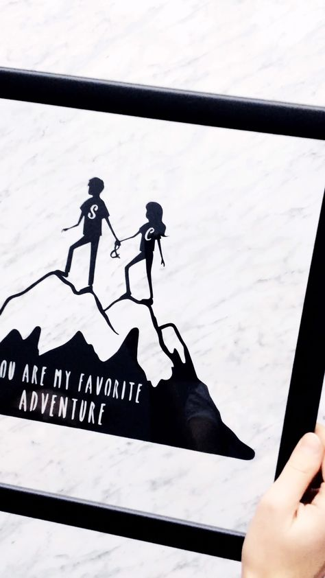 This one-of-a-kind couple traveling in the mountains personalized artwork is individually hand-cut from a single sheet of fine art Italian paper where every piece is interconnected. It's a great gift for your beloved one or your friends who enjoy exploring new places together. It makes a perfect wedding, engagement or anniversary present as well.
