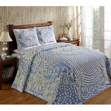 Home Bed Spreads Chenille Bedspread Blue Bedspread