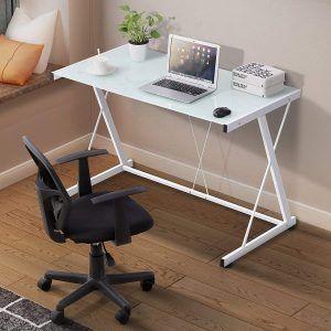 Mecor Glass White Computer Desk White Computer Desk Home Studio Desk Home Office Furniture