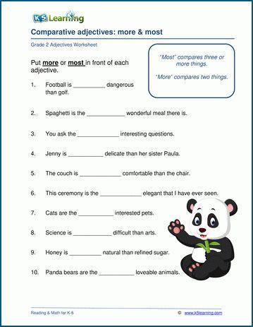 Grade 2 Adjectives Worksheets K5 Learning Adjective Worksheet 2nd Grade Worksheets Comparative Adjectives Worksheet