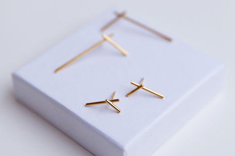 Minimalistische Oorbellen Zilver : Gold fracture oorbellen verguld zilveren minimalistische