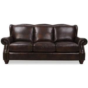 Rancho Mountain Leather Traditional Rich Brown Sofa with ...