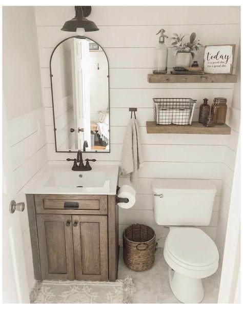 Amazing DIY Bathroom Ideas, Bathroom Decor, Bathroom Remodel and Bathroom Projects to simply help inspire your master bathroom dreams and goals. Half Bath Remodel, Diy Bathroom Remodel, Diy Bathroom Decor, Bathroom Organization, Bathroom Renovations, Bathroom Interior, Organization Ideas, Budget Bathroom, Restroom Remodel