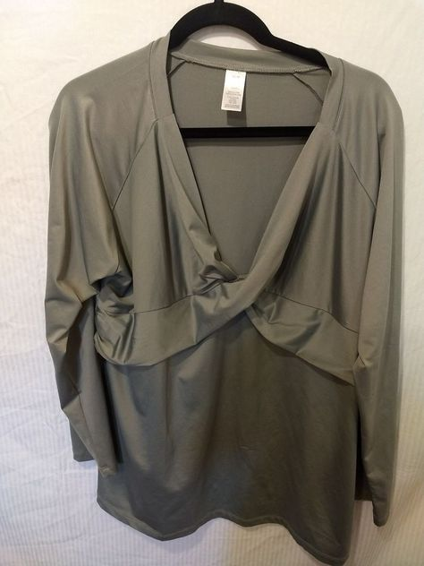 04e83e0bac2 women Size 1X 1T Gray unbranded Long Sleeve Blouse with Ruffled V-neck  front  fashion  clothing  shoes  accessories  womensclothing  tops (ebay  link)