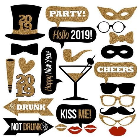 add some fun to your 2019 new years eve party with this huge collection of printable photo booth props just print trim and add sticks