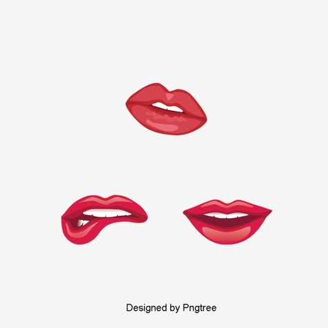 Red Lip Realistic Design Element Effect Simplicity Realistic