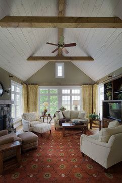 Shiplap And Beam Ceiling Farm House Living Room Cathedral