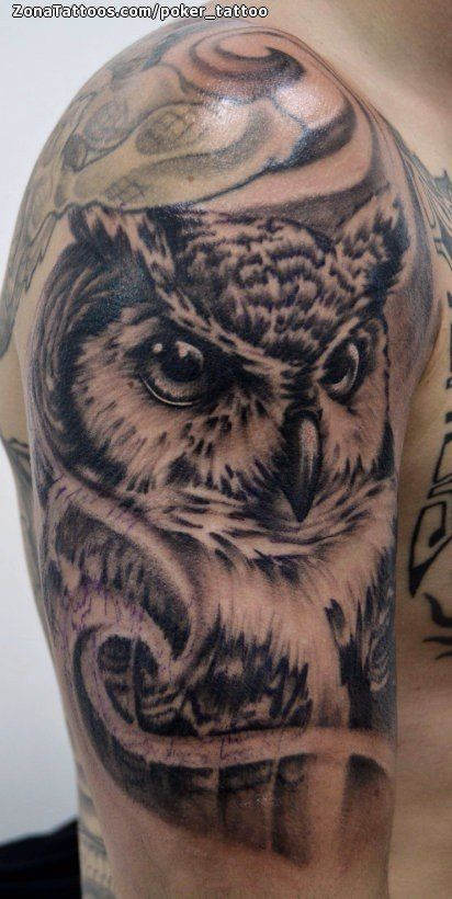 Resultado De Imagen Para Tatuajes De Buho 3d En El Hombro