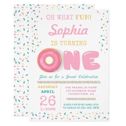 Oh What Fun Donut First Birthday Party Invitation Zazzle