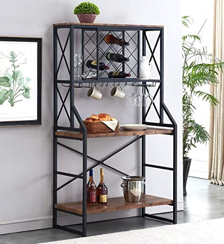 New Homyshopy Wine Bakers Rack Industrial Wine Rack Table With