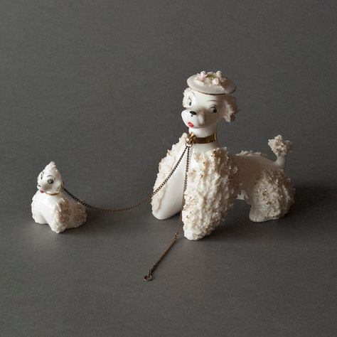 Vintage Ceramic Poodle and Pup Figurine by ZeesVintage on Etsy, $12.00
