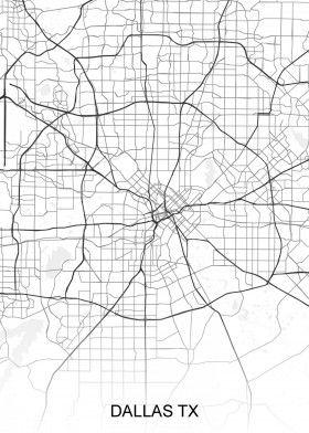 road map of dallas Dallas Tx Street Map North America Street Maps Road Map Art road map of dallas