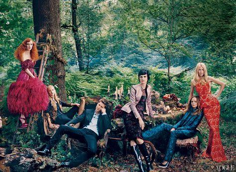 Karen Elson, Sarah Burton, Christopher Bailey, Stella Tennant, Stella McCartney, and Claudia Schiffer  Photographed by Norman Jean Roy