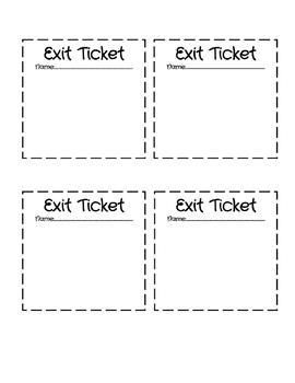 graphic regarding Printable Exit Tickets named Blank Exit Ticket Template for All Grades Training Suggestions
