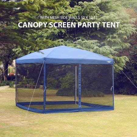 Pop Up Canopy With Netting Screen House Instant Gazebo Party Tent 10 X 10 Ft Blue Walmart Com Party Tent Screen House Pop Up Canopy Tent