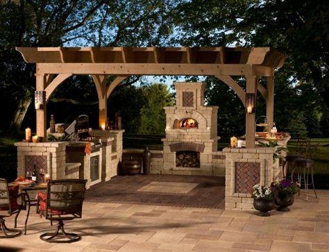 Garten Grillkamin Pergola Holz Gartenküche selber bauen - gartenkamin selber bauen