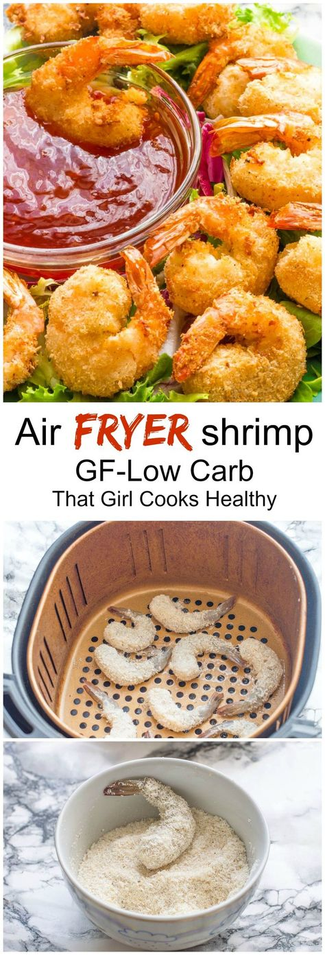 Air fryer shrimp - this delicious, crispy air fried shrimp is super healthy and made within minutes #airfryer #seafoodrecipes #lowcarb #easyrecipe #appetizer