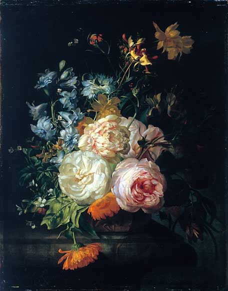 Flower Still Life, Rachel Ruysch -one of the three Dutch women artists- the other two artists were Maria van Oosterwijck, & Judith Leyster