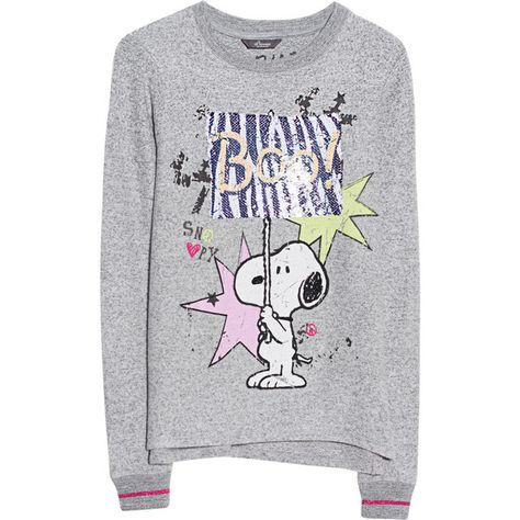 Princess Goes Hollywood Snoopy Yeay Grey Printed Sweater 155 Liked On Polyvore Featuring Tops Sweaters Crew Neck Swea