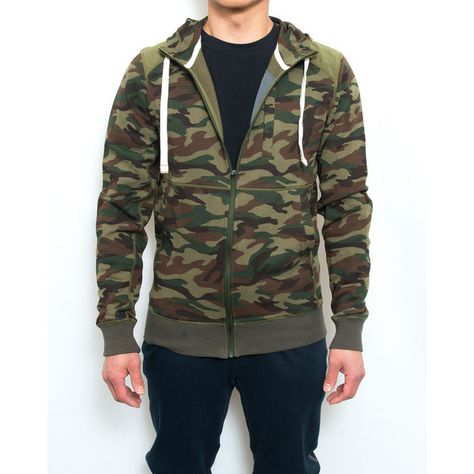 RINGSPUN Men/'s Camouflage Jacket Funnel Neck Military Style Sleeves Olive Khaki
