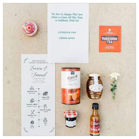 Their destination wedding in Greece gift bag favours had different food items, one from each place the couple have lived  a mini Lefkada honey for the wedding day! A great idea for Greek inspired wedding favours. By Lefkas Weddings with Kalampokas Fotografia #weddingfavors #weddingfavours